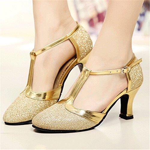 Frauen tanzen Schuhe nach Latin Dance Square Dance Schuhe heel 6 CM, Golden, 43 (Gold Fisch Schuhe)