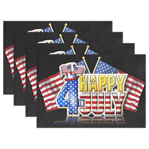 ALAZA Tischsets Set 1 Stück Happy 4th July and American Flag hitzebeständig waschbar Tischsets 30,5 x 45,7 x 2,5 cm für Küche Esstisch Dekoration, Polyester-Mischgewebe, Multi, 12x18 inch