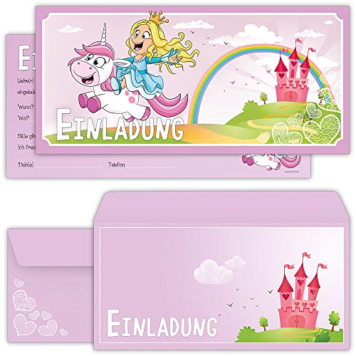 Prinzessin Einladungskarten mit Umschlägen (12er Set) zum Kindergeburtstag mit einem niedlichen, süßen Einhorn - Geburtstag-Einladungen für die Party bzw Feier in rosa und pink, ideal für Mädchen
