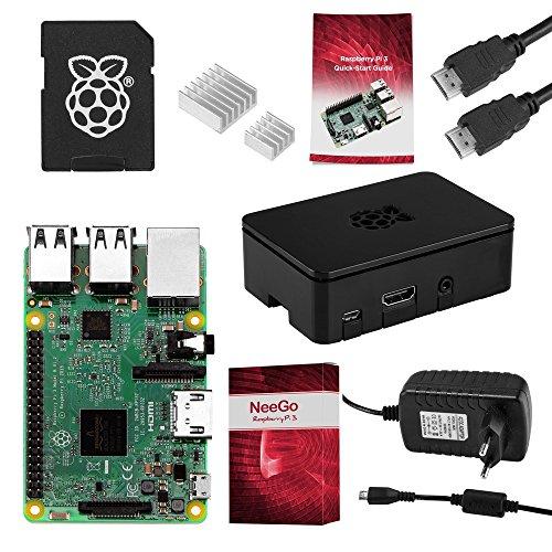 51Hx6%2B2jpdL - Raspberry Pi 3 Complete Starter Kit 16GB – Placa Base Raspi 3 Modelo B Barebone Mini Pc 64bit Cuatro Nucleos 1GB RAM Fuente de Alimentación 2.5A, 2 Disipadores Térmicos, Cable HDMI y Carcasa Pi3 Negra