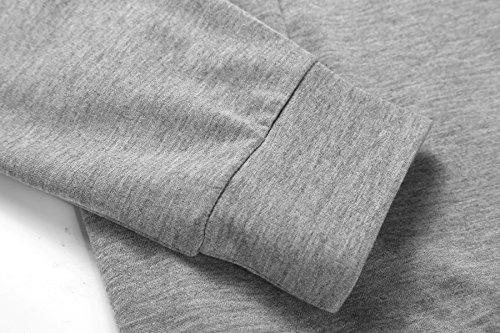 Felpa Donna Inverno Maglietta Elegante Vintage Manica Lunga Collo Alto Slim Fit Con Tasca Casual Hipster Fashion Moda Lunga Caldo Cappotto Maglie Top Grigio chiaro