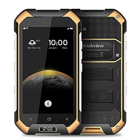 Blackview BV6000s 4G FDD-LTE IP68 imperméable à l'eau 4.7inch Android 6.0 Smartphone 64Bit MT6735A Quad-core 2 Go RAM 16 Go ROM HD 720 * 1280pixel 4500mAh 8.0MP Camera Moblie Téléphone (Orange)
