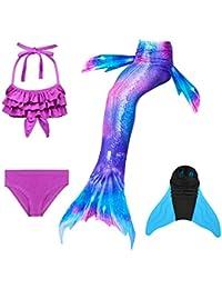 DECOOL 2018 Cola de Sirena,4PCS Traje de baño de Las Muchachas Traje de baño de Cola de Sirena Conjunto de Bikini Traje para Nadar con Monofin