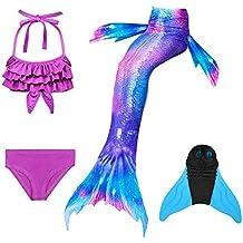 Lml 3PS M/ädchen Cosplay Kost/üm Badenbkleidung Meerjungfrauen Schwimmanzug Badeanz/üge Meerjungfrauenschwanz F/ür Schwimmen Kinder