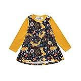 Huihong Baby Mädchen T Shirt Kleider Langarm Cartoon Fuchs Druck Sonne Kleider Prinzessin Kleider (Gelb, 5T/120)