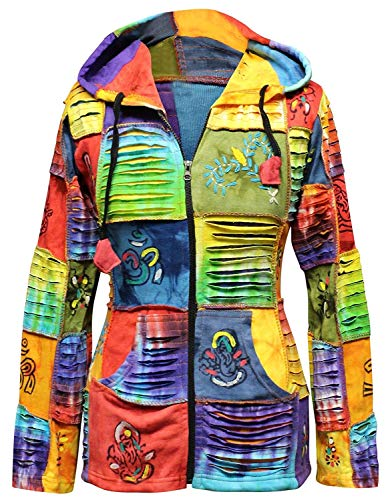 SHOPOHOLIC FASHION für Damen Bunt Zerschnitten Flickwerk Hippie Kapuze - Multi, XX-Large