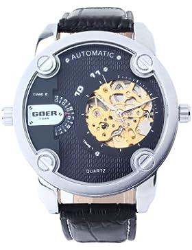 UNIQUEBELLA Automatikuhr Automatik Armbanduhr Skelett mechanische Uhr Leder Weihnachten Geschenk Xmas Gift