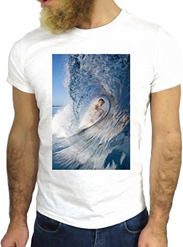 T-SHIRT JODE GGG24 Z1042 OCEAN MAN BOY GUY SURF LANDSCAPE UK AMERICA BLUE WAVES BIANCA - WHITE