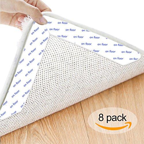 HEYSTOP Antirutschmatte Teppich, Teppichgreifer Antirutschmatte Wiederverwendbar Teppichunterlage Teppichstopper, Starke Klebrigkeit für Verschiedene Böden und Teppich-Pads(8 Stück,Weiß) (Home-teppich-pads)