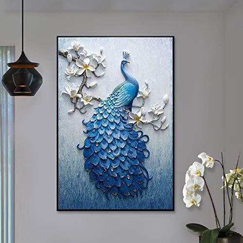 Smaqz pittura a punto croce-diamante soggiorno pavone sdraiato pavone moderno semplice pittura decorativa europea diamante pieno 30 * 40cm