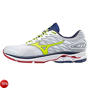 Mizuno, Wave RIDER 20, Scarpe running uomo, White/SafetyYellow/BluePrint, 39 EU
