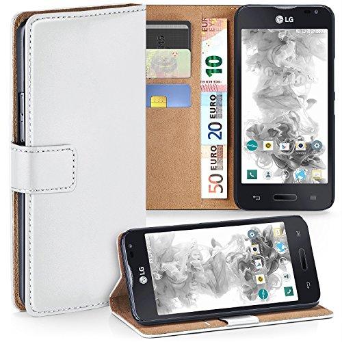 moex LG L90 | Hülle Weiß mit Karten-Fach 360° Book Klapp-Hülle Handytasche Kunst-Leder Handyhülle für LG L90 Case Flip Cover Schutzhülle Tasche