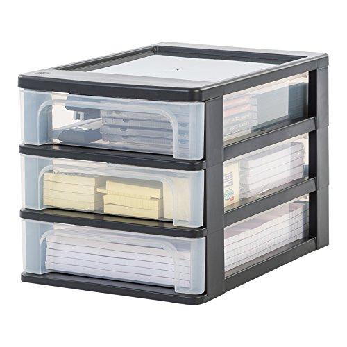 Iris Organizer Chest OCH-2030 Schubladen-/Tischschubladen-/Bürobox, Aufbewahrung für Schreibtisch, Kunststoff, schwarz/transparent, 35,5 x 26 x 25,5 cm