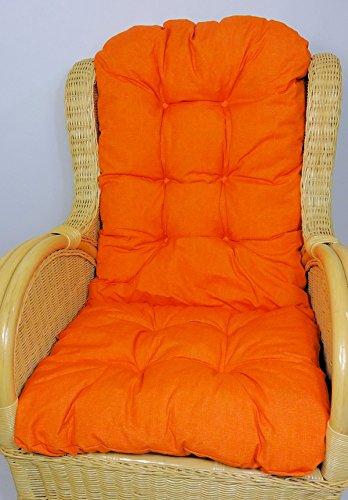 Rattani - Polster/Kissen/Ersatzpolster für Rattan Ohrensessel/Rattansessel, Fb. Uni Living orange - Made in EU