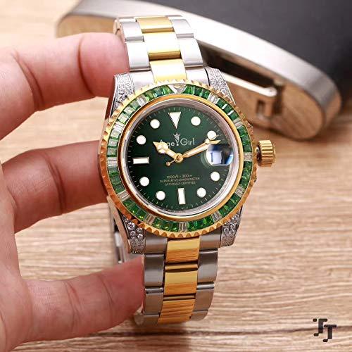 KLMADSB Armbanduhr Herren Uhren Luxusmarke Neue Männer Automatische Mechanische Silber Gelb Gold Diamanten Regenbogen Blau Grün Edelstahl Saphir Uhr AAA + Grün