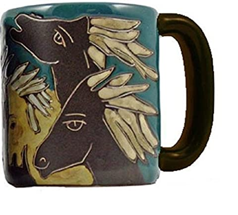Set of 2 MARA STONEWARE COLLECTION - 16 Oz. Ceramic Coffee/Tea Cup Collectible Dinner Mugs - Mexican Pottery Horse