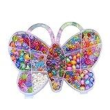 Eizur Enfants Corder Perles Jeu DIY Fabrication de Bracelet Collier Bijoux Kit Jouets éducatifs Ensemble loisirs créatifs Assorties Perles con Papillon forme Boîte Type F - 600 perles