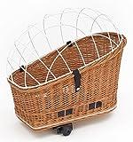 Tigana - Hundefahrradkorb für Gepäckträger aus Weide Natur 56 x 36 cm mit Metallgitter Tierkorb Hinterradkorb Hundekorb für Fahrrad + Kissen (N-W)