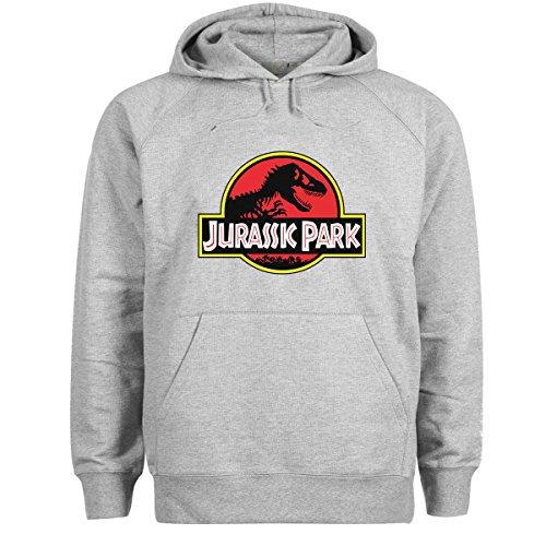 Friendly Bees Jurassic Park Dino Logo Grau Unisex Kapuzenshirt Medium