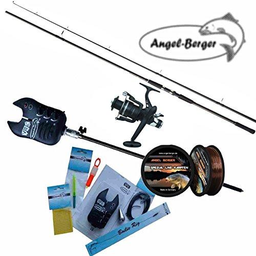 Angel Berger Karpfenset komplett Steck Karpfenrute und Karpfenrolle mit Zubehör