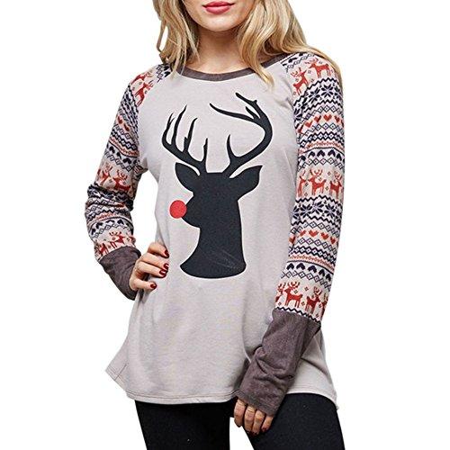 Idgreatim Juniors Weihnachten Tier gedruckt Farbe Block Tops Bluse Langarm Rundhals T-Shirts M (Block Top Gedruckt)