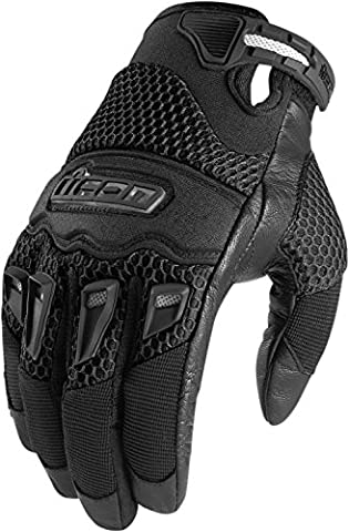 Icon 29er Mens Summer Mesh Motorcycle Gloves (Black, M)