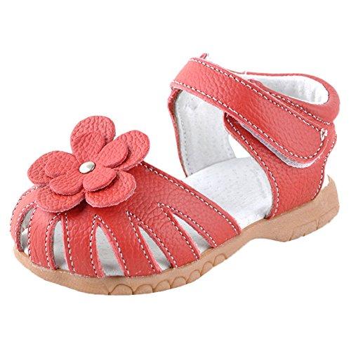 Scothen Sandales filles chaussures de plage d'été sandales romaines des femmes en plein air sandales sandales nounou plat bascule Fleur perlée princesse chausse des espadrilles Chaussures ballerine Rouge