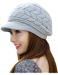 Quge Femme D h ver Chapeau Fleur Style Crochet À Tricoter Bonnet Chaud  Visière Chapeau 89a474be2c5