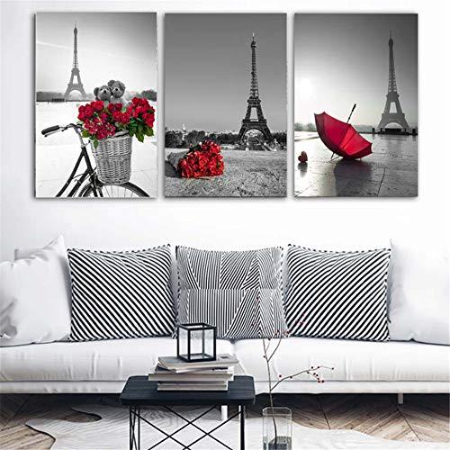 Cuadros arte pared Torre Eiffel Paraguas rojo Calle