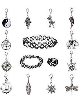 12-teiliges Schmuck-/Anhängerset, 1x eng anliegende Choker-Halskette, 1x Ring und mehrere Anhänger, dehnbares...