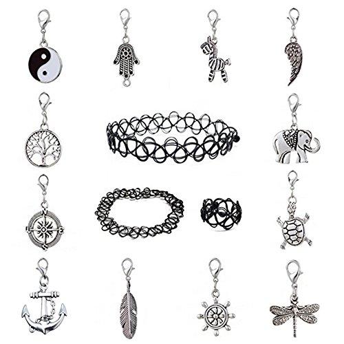 Set mit 12 Anhängern und 3 Tattoo-Halsband, Halskette, Armband, Ring, Schwarz, Gothic Stretch