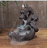 moumou Incensiere di riflusso del bruciatore di incenso del supporto di incenso in ceramica Drago con perlina