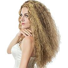 L-Peach Peluca Afro Pelo Rizado Cabello para Mujer o Hombre Disfraz para Cosplay Fiesta