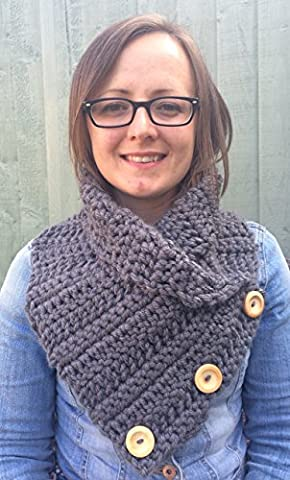 Adult Handmade Crochet Wrap Over Super Chunky Cowl with Wooden Buttons - Machine Washable
