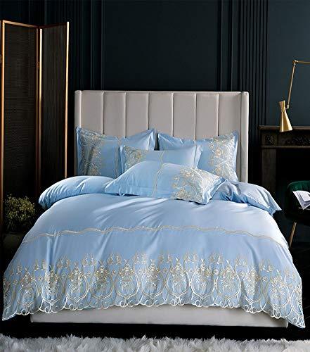 Seide Doppelbett (QYZLT Explosionsmodelle aus Baumwolle gewaschener Seide EIS Seide vierteilige Spitze Bettbezug Doppelbett mit Reißverschluss,SkyBlue,78