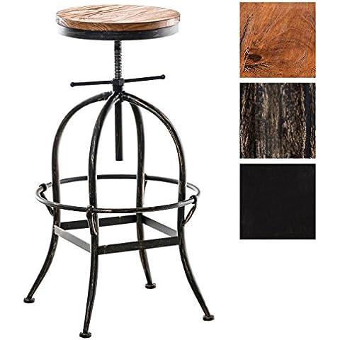 CLP Sgabello STRONG, stile industriale, mix di legno e metallo, rotondo, altezza della seduta regolabile in altezza (ca. 70 - 90 cm). bronzo