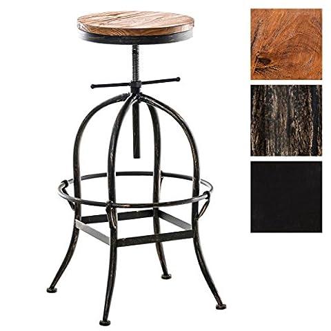CLP Tabouret de bar STRONG, style industriel, mélange de bois et métal, rond, réglable en hauteur en. 70 - 90 cm bronze