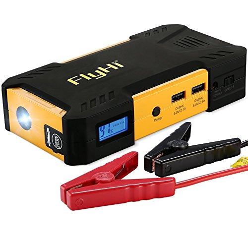 FlyHi 800A 18000mAh Tragbare Auto Starthilfe, Autobatterie Anlasser, Externes Akku-Ladegerät mit LED Taschenlampe, LCD Display und für Smartphone, Tablet und Vieles Mehr (Schwarz/Gelb)