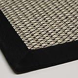 Sisal-Teppich hochwertig genähte Bordüre Flachgewebe, Variante: schwarz beige natur 60x110, lieferbar in 9 Größen