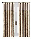 Oxford Homeware Faltenvorhang Paisley Muster Blütenmuster Tippen Top Jacquard Vorhänge Komplett gefüttert Schlafzimmer Vorhänge + 2Raffhalter, Braun & Creme, 90