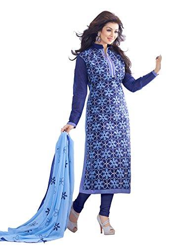 Kimisha Blue Chanderi Embroidered Long Churidar Salwar Suit Dress Material