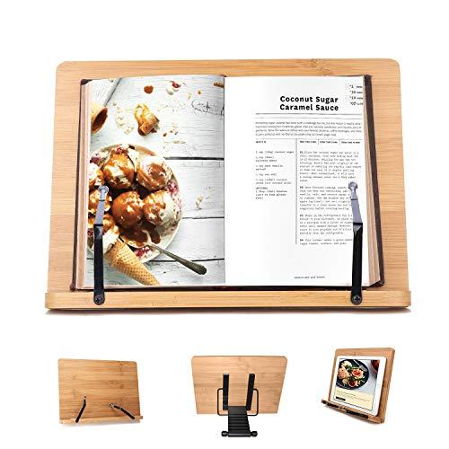 Bambus Kochbuchhalter Leseständer - 33.5 x 24 cm Bücherständer mit 6 verstellbaren Neigungswinkeln - Buchstütze für Kochbuch, Rezept, iPad, Tablet und Musiknoten - Ipad Rezept-halter Für