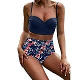 Overdose 2pcs Damen Gekräuselter Druck Bikini Sets Frauen Hohe Taille Bikinis Bademode Swimuit Weibliche Retro Beachewear Bikini Set Beachwear Badeanzüge(Dunkelblau,XL)
