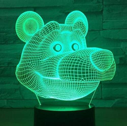 Luz De La Noche 3D Touch Led Corazón Globo Oso Lámpara Dormitorio De Los Niños Luz De Noche Regalo De Los Niños @ Bear_4
