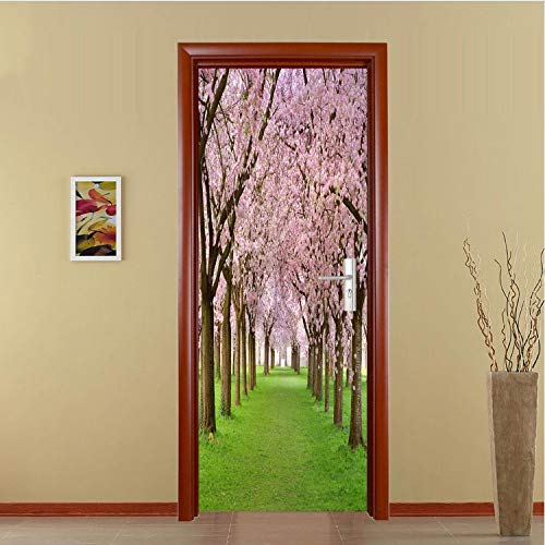 GBICjdojf Cherry Blossoms Door Sticker Mural Selfadhesive Wallpaper Removable Waterproof Poster Stickers Home Decor Decals 3D DIY