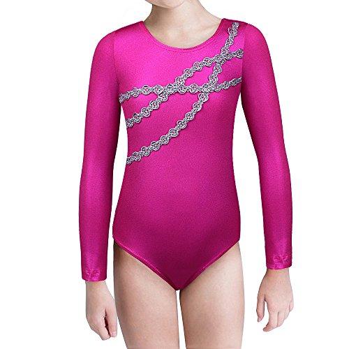 Kinder Mädchen Ballettanzug Langarm Turnanzug Ballett Trikot spleißen Streifen Segelboot Drucken schwarz Perspektive Mesh Gymnastik Tanz-Body Ballettoutfit Kostüm zum 2-15 Jahre (Chain, 110(3-4T))