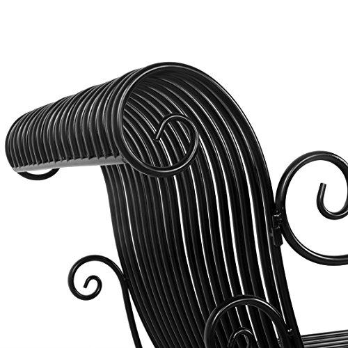 HLC Metall Klassische Bank Gartenbank Liegestuhl aus Eisen 110*44*85 CM - 7