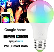 Smart LED Bulb E27 Remote Control Color Adjustable Light Works with Amazon Alexa/Echo Google Home/Assistant IF