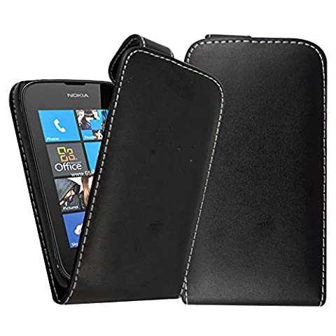 Black Leather Vertical Case for Nokia Lumia 520 - Flip Phone Pouch Cover + 2X Free Screen Guards