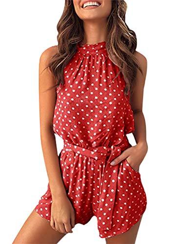 Tomsent Damen Sommer Elegant Rückenfrei Ärmellos Overall Hose Playuit Jumpsuit Romper Bodysuit Freizeit Spleißen Rot DE 42 (Reißverschluss-spandex Bodysuit)